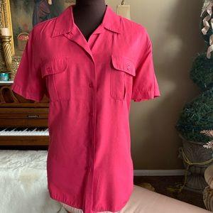 Karen Scott Fuchsia Short Sleeve Button up Blouse